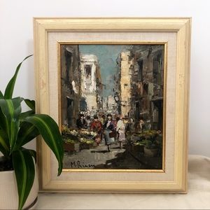 Vintage Original Painting of Marketplace Scene